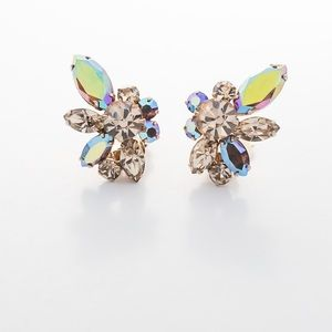 Vintage Crystal Earrings Patent 156452 Fire and Ice Aurora Borealis AB Cluster